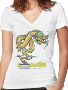 Bonsai Dragon Women's Fitted V-Neck T-Shirt