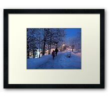 On Their Way Home One Winter Afternoon Framed Print