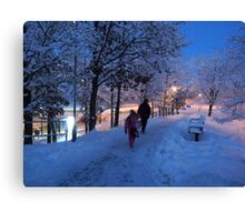 On Their Way Home One Winter Afternoon Canvas Print