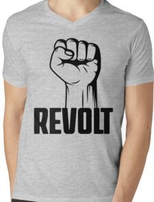 Revolt Clenched Fist Revolution T Shirt Mens V-Neck T-Shirt