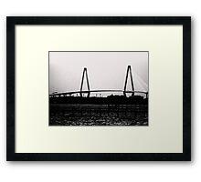 Cooper River Bridge Black & White Framed Print