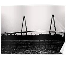 Cooper River Bridge Black & White Poster