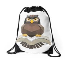 Vector, Brown Owl fly with the book Drawstring Bag