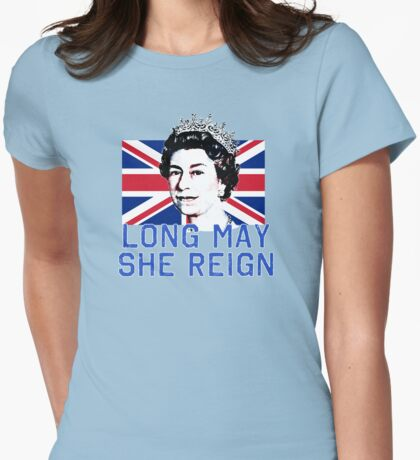Queen Elizabeth II Long May She Reign Womens Fitted T-Shirt