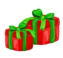A red gift with a  green ribbon and a bow Photographic Print