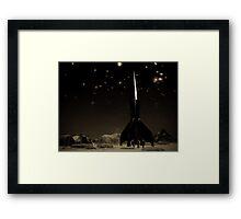 Spacemen and Rocketship Framed Print