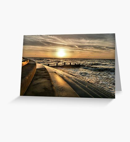 Golden Sunset - Cleveleys . Greeting Card