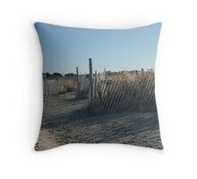Fences at Narragansett Beach Throw Pillow