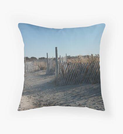 Fences at Narragansett Beach Throw Pillow