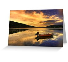 Red boat,Blue sky,Yellow Clouds. Greeting Card