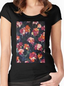 Navy Floral Women's Fitted Scoop T-Shirt