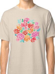 Peony & Roses on Black Classic T-Shirt