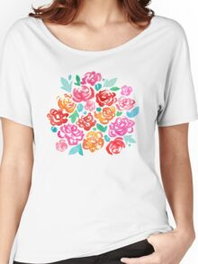 Peony & Roses on Black Women's Relaxed Fit T-Shirt