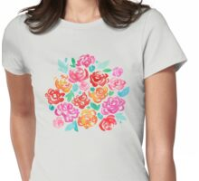 Peony & Roses on Black Womens Fitted T-Shirt