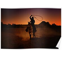 Lasso at Sunset Poster