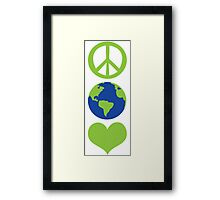 Peace love Earth Framed Print