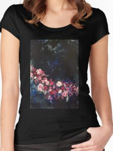 Flowers in the Night Sky Women's Fitted Scoop T-Shirt