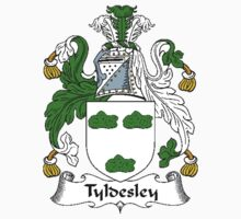 Coat of arms (family crest) for last-name or surname Tyldesley . Heraldry banner for your name. T-Shirt
