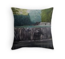 Waterfall on a Sunny Day Throw Pillow