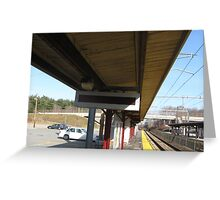 Sharon Station's Outbound Train approaching sign Greeting Card