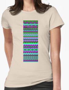 hyper neon pixel pattern Womens Fitted T-Shirt