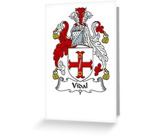 Coat of arms (family crest) for last-name or surname Vidal . Heraldry banner for your name. Greeting Card