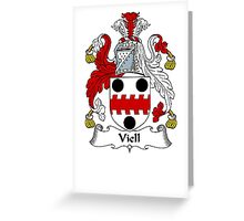 Coat of arms (family crest) for last-name or surname Viell . Heraldry banner for your name. Greeting Card