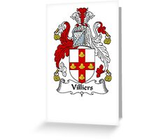 Coat of arms (family crest) for last-name or surname Villiers . Heraldry banner for your name. Greeting Card