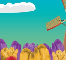 Windmill and Tulips Sticker