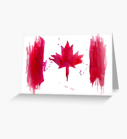 Watercolor flag of Canada Greeting Card