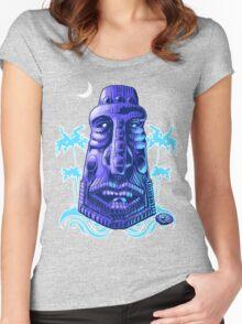 Moonlit Moai T-shirt Women's Fitted Scoop T-Shirt