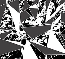 Modern Black & White Paint Splattered Triangles by Blkstrawberry