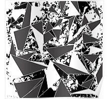 Modern Black & White Paint Splattered Triangles Poster