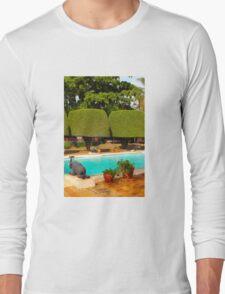Swimming pool at Nairobi Safari Park Resort Long Sleeve T-Shirt