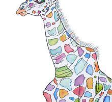 Multi-coloured Giraffe by taniaallmanart