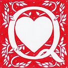 Red Heart Letter Q by Donna Huntriss