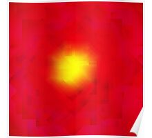 Modern Red and Yellow Geometric Abstract Sunburst Poster