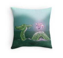 Nessie and Uni Throw Pillow