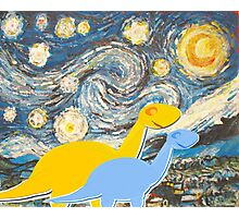 Cute Cartoon Dinosaurs looking at a Starry Night Painting Landscape Photographic Print