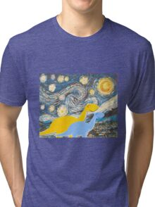 Cute Cartoon Dinosaurs looking at a Starry Night Painting Landscape Tri-blend T-Shirt