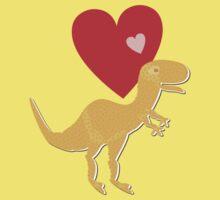 Cute Cartoon Dinosaur Orange T-Rex Love Heart One Piece - Short Sleeve