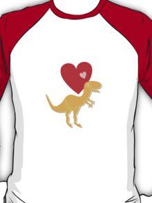 Cute Cartoon Dinosaur Orange T-Rex Love Heart T-Shirt