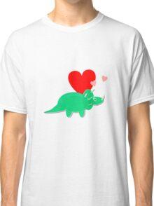 Cute Cartoon Dinosaur Green Triceratops Love Hearts Classic T-Shirt
