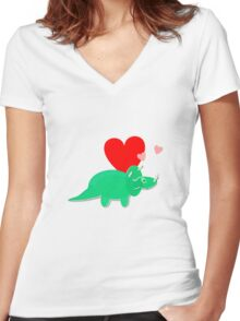 Cute Cartoon Dinosaur Green Triceratops Love Hearts Women's Fitted V-Neck T-Shirt