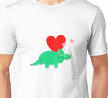 Cute Cartoon Dinosaur Green Triceratops Love Hearts Unisex T-Shirt