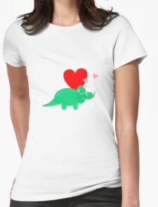 Cute Cartoon Dinosaur Green Triceratops Love Hearts Womens Fitted T-Shirt
