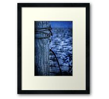 Barbed Wire in Blue Framed Print