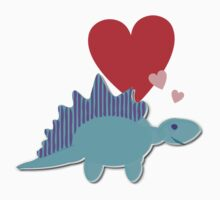 Cute Cartoon Dinosaur Blue Stegosaurus Love Hearts T-Shirt Kids Clothes