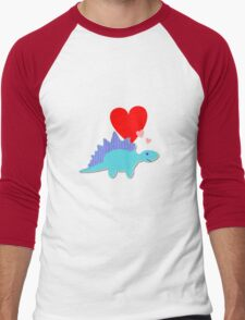 Cute Cartoon Dinosaur Blue Stegosaurus Love Hearts T-Shirt Men's Baseball ¾ T-Shirt
