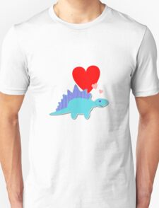 Cute Cartoon Dinosaur Blue Stegosaurus Love Hearts T-Shirt T-Shirt